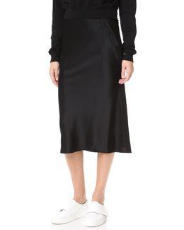 Heavy Draped Satin Skirt