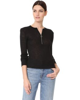 Ribbed Zip Neck Pullover