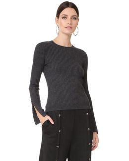 Wide Rib Sweater With Hook & Eye Arm Detail