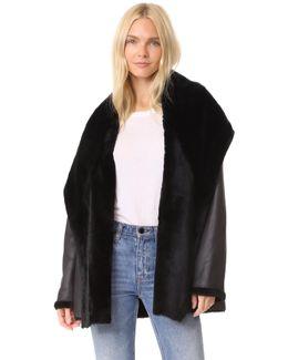 Reversible Shawl Collar Shearling Coat