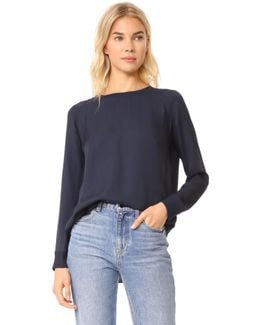 Ribbed Trimmed Long Sleeve Silk Blouse
