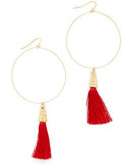 The Summer Of Love Tassel Hoop Earrings