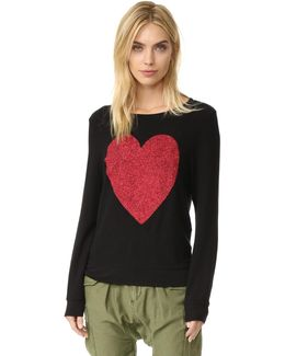 Sparkle Heart Baggy Beach Pullover