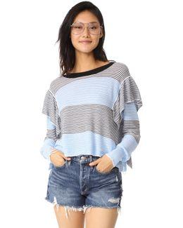 Aura Striped Ruffle Sweater