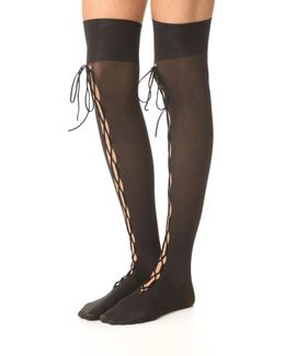 Lace Up Thigh High Tights