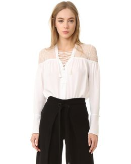 Lace Up Ruched Top