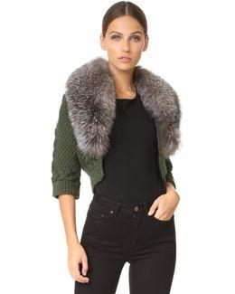Bolero Sweater With Fur Trim