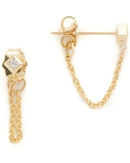 Princess Diamonds Chain Earrings
