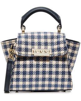Eartha Gingham Staw Mini Top Handle Bag