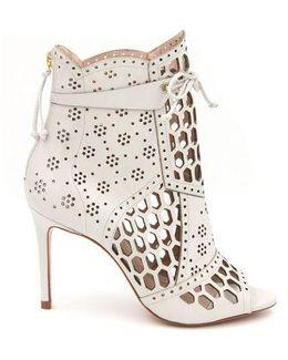 Julie Laser-cut Peep-toe Ankle Boots