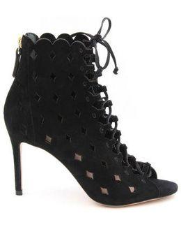 Ashlyn Laser-cut Peep-toe Suede Ankle Boots