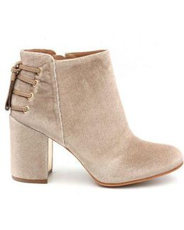 Twiggy Lace-up Velvet Block Heel Ankle Boots