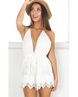 Chase The Sun Playsuit In White Crochet