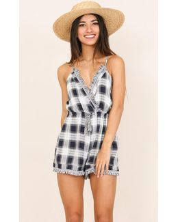Wild Coast Playsuit In Navy Check