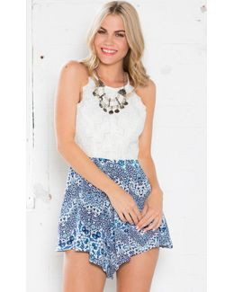 Let Go Playsuit In White And Blue Print