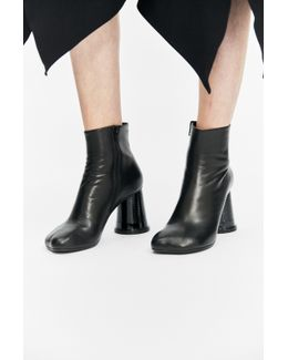 Black Leather Cup Heel Boots
