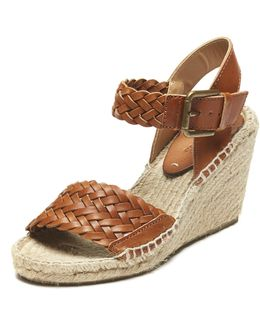 Woven Leather Open Toe Wedge Sandal