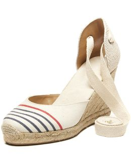 Provence Striped Tall Espadrille Wedge Sandal