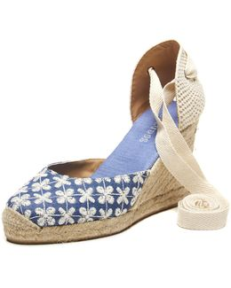 Daisy Embroidered Denim Tall Wedge Sandal