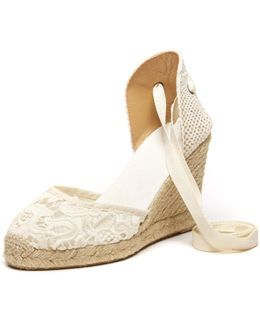 Tulip Lace Tall Wedge Espadrille Sandal
