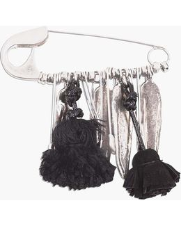 Pin Brooch With Feathers And Pompons