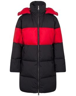 Long Bicolour Padded Down Jacket