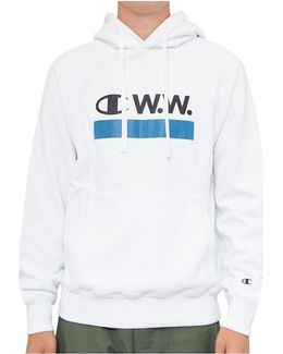 Reverse Weave Hooded Sweatshirt White Men's Sweatshirt In White
