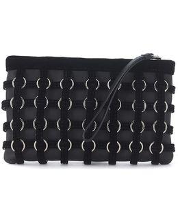 Pochette Roxy In Pelle Nera E Velluto Women's Pouch In Black
