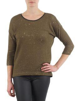 Leather Zipper Sweatshirts Women's Long Sleeve T-shirt In Green
