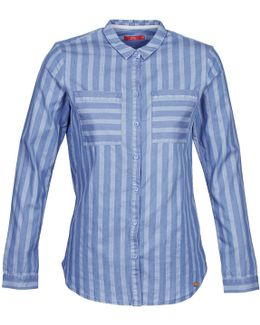 Stripe Denim Women's Shirt In Blue