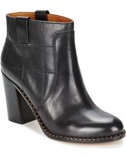 Casual 70's Ankle Boot Heel Women's Low Boots In Black