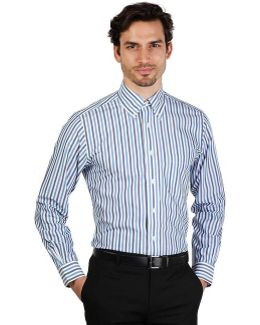 100047200_azzurro Men's Long Sleeved Shirt In Blue