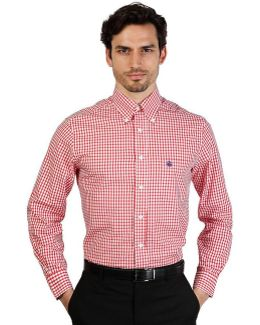 100047261_rosso Men's Long Sleeved Shirt In Red