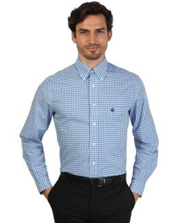 100047262_blu Men's Long Sleeved Shirt In Blue
