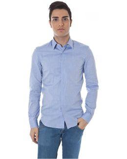 Gr_51659 Men's Long Sleeved Shirt In Blue
