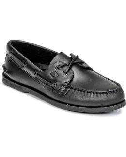 A/o 2-eye Men's Boat Shoes In Black