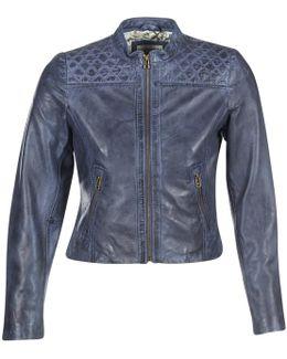 Doumalio Women's Leather Jacket In Blue
