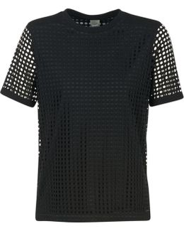 Double Layer Mesh T Women's T Shirt In Black