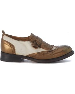 Loafer In Ivory And Bronze Leather With Fringes Women's Loafers / Casual Shoes In Beige