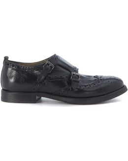 Black Leather Loafer With Double Buckle Women's Loafers / Casual Shoes In Black