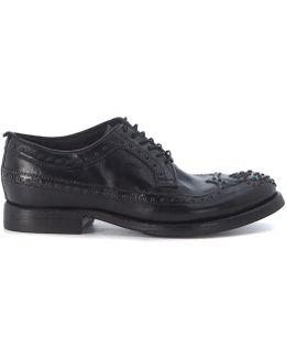 Black Leather Lace Up With Studs Women's Casual Shoes In Black
