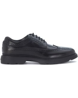 Nuova Route Lace Up In Black Brushed Leather Men's Casual Shoes In Black