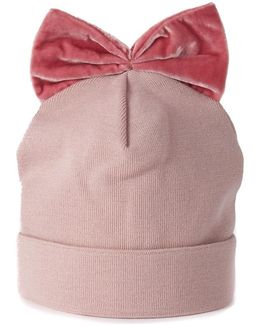 Pink Wool Hat With Bow Women's Jewellery In Pink