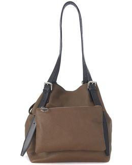 Borsa Media In Pelle Di Vitello Marrone Con Pochette Women's Handbags In Brown