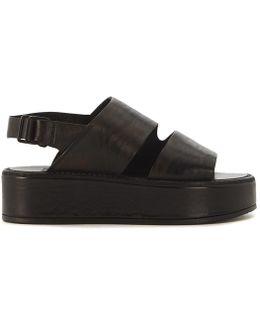 Black Leather Sandal Women's Sandals In Black