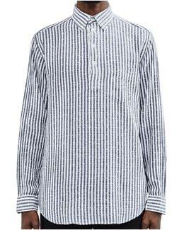 Boucle Stripe Pullover Shirt Navy Men's Long Sleeved Shirt In Blue
