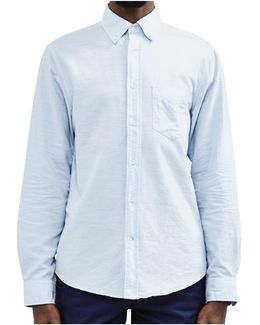 Kick-ass Slub Oxford Shirt Blue Men's Long Sleeved Shirt In Blue