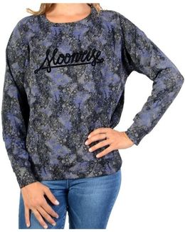 Sweatshirthirt Sunspace Jp W Moon Marble Blue Print Women's Sweatshirt In Blue