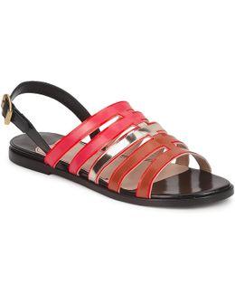 Stripey Women's Sandals In Red