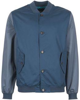 Colour Blocked Bomber Men's Jacket In Blue